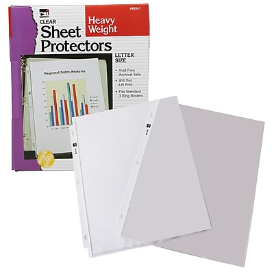Charles Leonard Sheet Protectors Plastic, Clear, 11.5 x 9.5