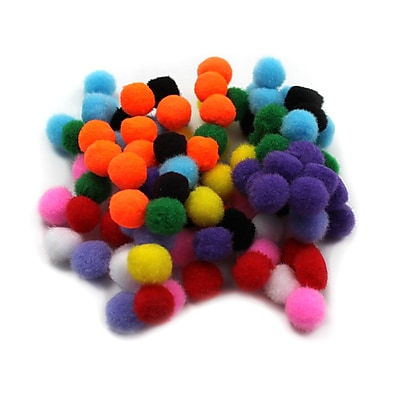 Charles Leonard Creative Arts™ Pom-Poms Furry Balls, Assorted Colors, 1/2