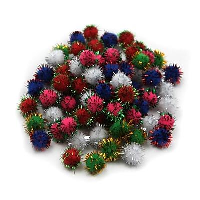Charles Leonard Creative Arts™ Pom-Poms Furry Balls, Glitter Assorted, 1/2