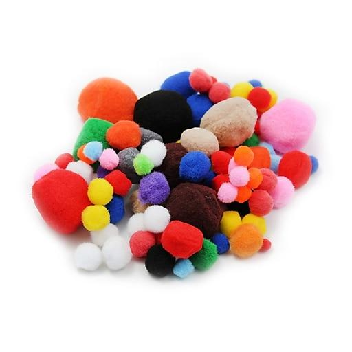 Charles Leonard Creative Arts™ Pom-Poms Furry Balls, Assorted Colors/Sizes, 8/Pack