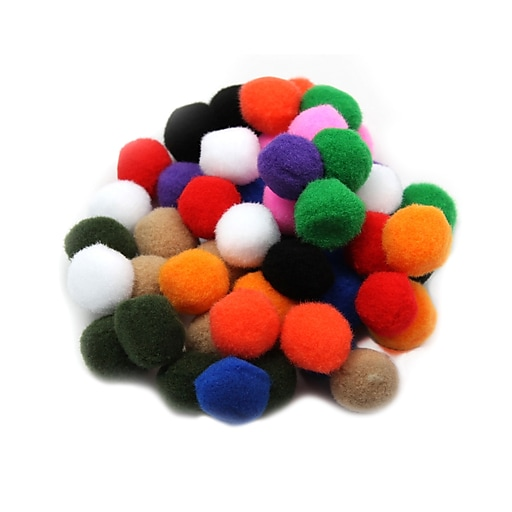 "Charles Leonard Creative Arts™ Pom-Poms Furry Balls, Assorted Colors, 1"", 12/Pack"