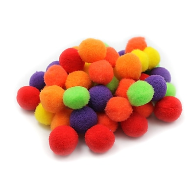 Charles Leonard Creative Arts™ Pom-Poms Furry Balls, Hot Color, 1
