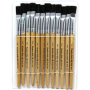 "Charles Leonard Flat Easel Paint Brushes With 1/2"" Wide Natural Stubby Handle, Black Bristle, 12/Pack"