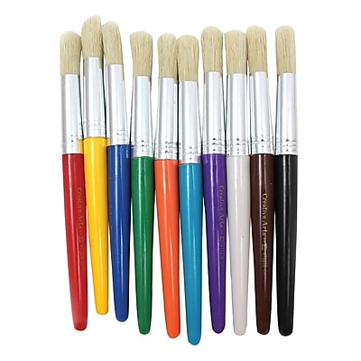Charles Leonard Round Paint Brushes With Stubby Assorted Handle, 7 1/2