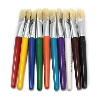Charles Leonard Brush Set with Flat Stubby Handle, 10/Pack