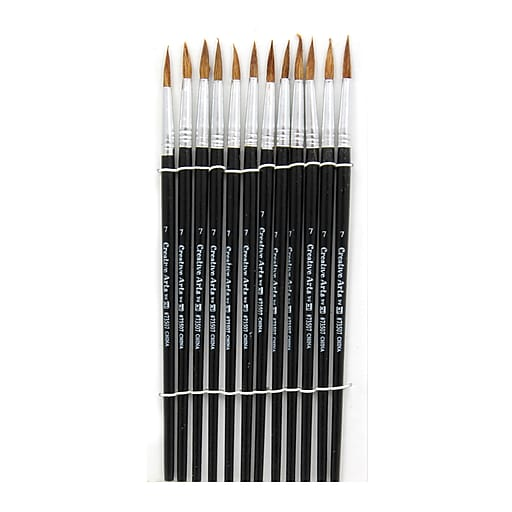 Charles Leonard Round Water Color Paint Brushes With Pointed Handle, Camel Hair Bristle, #7, 12/Pack