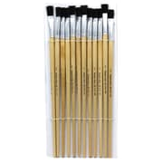 "Charles Leonard Flat Easel Paint Brushes With 1/2"" Wide Natural Handle, Black Bristle, 12/Pack"