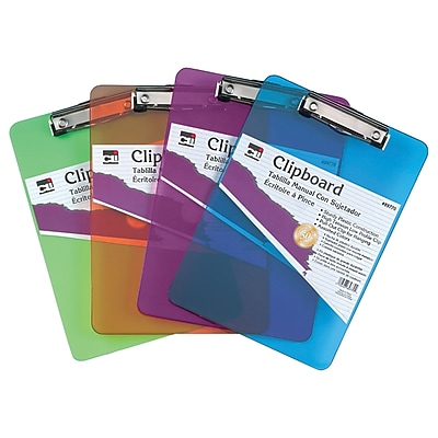 Charles Leonard Letter Size Clipboard, Assorted Colors