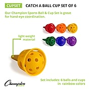 Champion Sports Catch A Ball Plastic Cup Set, Assorted Colors, 12/Set (CHSCUPSET)