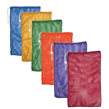 Champion Sports Nylon-Mesh Equipment Bag. Assorted Colors, Set of 6 (CHSMB21SET)