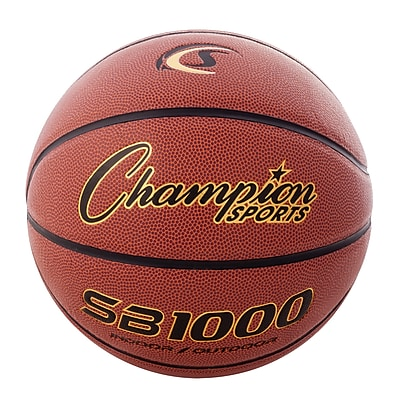 Champion Sports Official Size Rubber Basketball. Orange and Black, (CHSSB1000)
