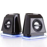 "GOgroove GGBP2MX100BKEW, BassPULSE 2MX USB Computer Speakers with Blue LED Lights, 9.5"" x 4.65"" x 4.6"", Black, 24/1"