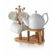 Homeart 10-Piece Ceramic and Wood Laced Teapot Set, White