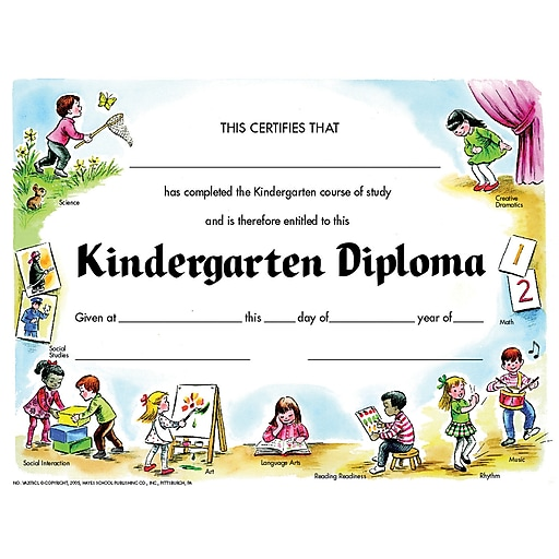 Kindergarten Awards Certificates: Hayes® Yellow Border Kindergarten Diploma Certificate, 8 1