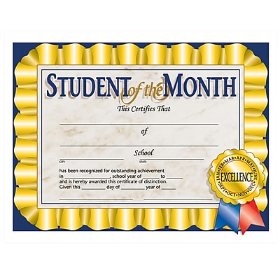 Hayes® Blue Border Student of The Month Certificate, 8 1/2