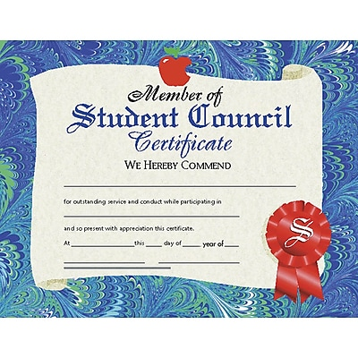 hayes member of student council certificate