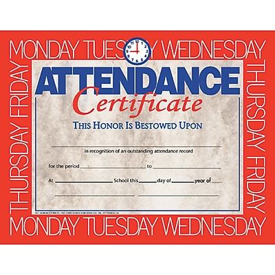 Hayes® White Border Attendance Certificate, 8 1/2