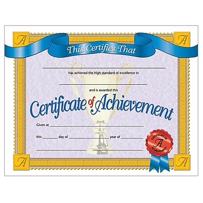 Certificate of Achievement, 8-1/2
