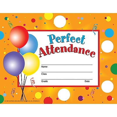 Hayes® Perfect Attendance Certificate/Reward Seal, 190/Pack
