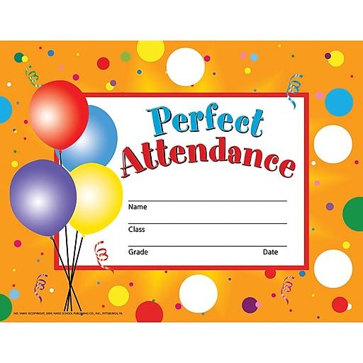 Hayes Perfect Attendance Certificates & Reward Seals, 30 Certificates, 160 Seals (H-VA801)