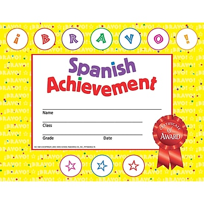 Hayes® Spanish Achievement Certificates, 30/Pack