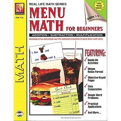 Real World Math, Remedia Menu Math for Beginners Book