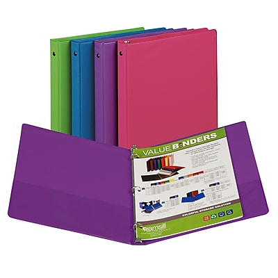 Fashion Color Binder 1/2in Capacity, Assorted, 3 Ring, Sold as a set of 12, SAM11199