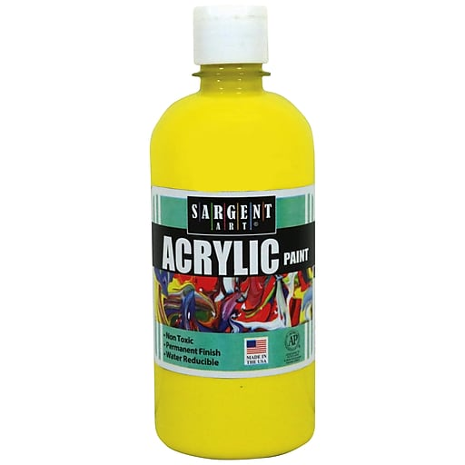Sargent Art Acrylic Paint, Yellow, 16 oz. Squeeze Bottle (SAR242402)