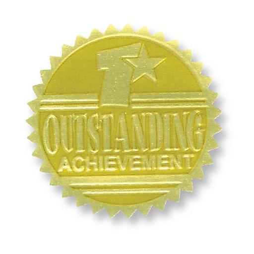Hayes Embossed Certificate Outstanding Achievement Seals, Gold, 54/Pack (H-VA371)