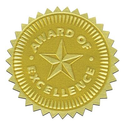 Flipside Gold Foil Embossed Seal, Award of Excellence, 54/Pack