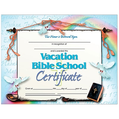 Bible School Certificate