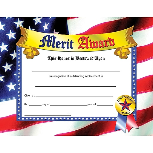 "Hayes® Blue Border Merit Award Certificate, 81/2"" X 11"