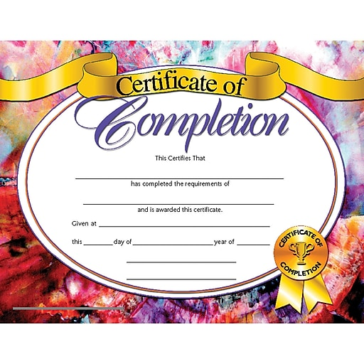 Shop Staples For Hayes® Certificate Of Completion, 8 1/2