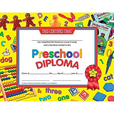 Hayes® Yellow Border Pre School Diploma Certificate, 8 1/2