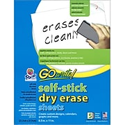 """Pacon® GoWrite® Self-Stick Dry-Erase Sheets, White, 8 1/2"""" x 11"""", 5 Sheets/Pack"""