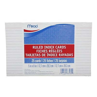 Mead Cards Index Ruled 5 x 8, White 4 Sides, 25ct, Bundle of 36 total of 900 (MEA63580)