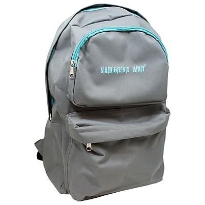 Sargent Art Economy Backpack, Gray w/ Teal Zipper, Nylon (SAR985022)