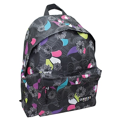Sargent Art Economy Backpack, Black, White & Gray Flower/Paisley Pattern, Nylon (SAR985025)