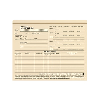 ComplyRight Employee Personnel Envelo - File (A0717)