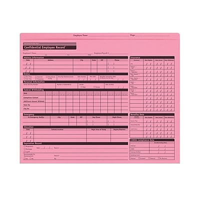 ComplyRight™ Pink Personnel Pocket File Folder, Pack of 25 (A0781)