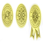"St. James® Embossed Assorted Seal, 1-3/4"" (4.5cm) Diameter, Gold, 30/Pack"