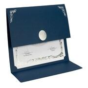 St. James® Elite Medallion Fold Certificate Holders, Linen, Navy Blue with Silver Medallion, 5/Pack