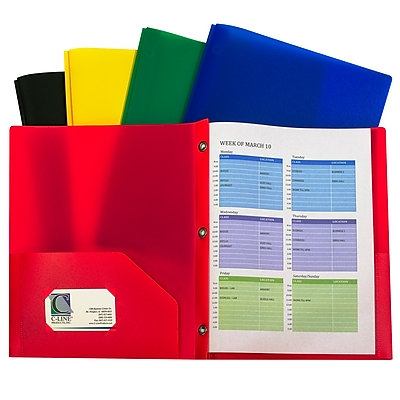 C-Line, Assorted Two Pocket Poly Portfolios With Prongs Pack of 10, 8.5