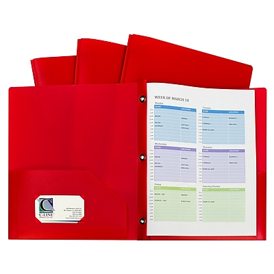 C-Line, Red Two Pocket Poly Portfolios With 3 Prongs Pack of 10, 8.5
