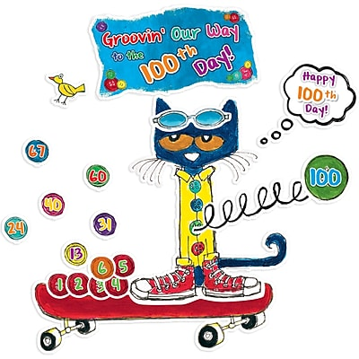Edupress® Pete the Cat® Bulletin Board Set, 100 Groovy Days of School, 108/Pack