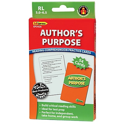 Author's Purpose Reading Comprehension Practice Cards, Green Level (RL 5.0-6.5)