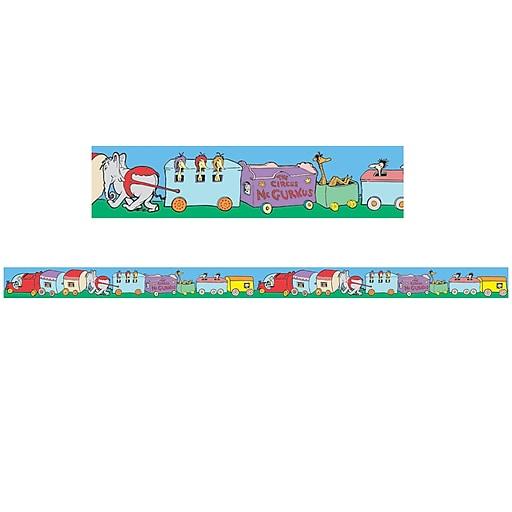 "Eureka EU-844913 2.25"" x 12' Dr. Seuss ""If I Ran the Circus"" Trains Deco Trim, Multicolor"