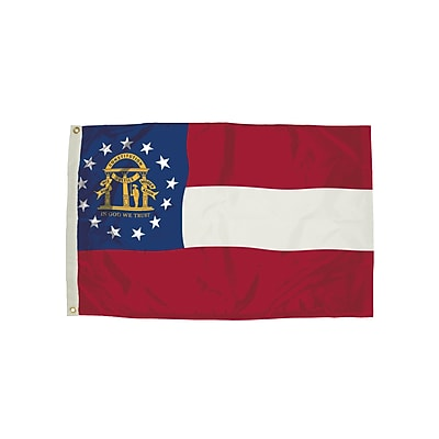 Flagzone Georgia Flag with Heading and Grommets, 3' x 5', Each