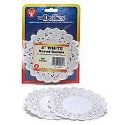 Hygloss Round Paper Lace Doilies, White, 100/Pack (HYG10041)