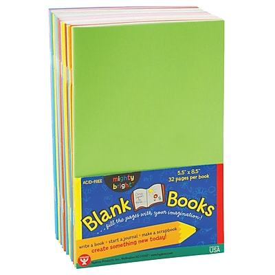 Hygloss Rainbow Brights™ Blank Book, Assorted, 10/PK, 2 PK/BD